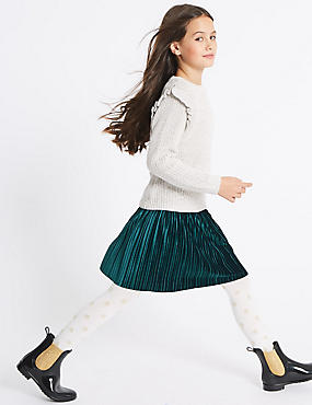 Velvet Pleated Skirt (3-14 Years)