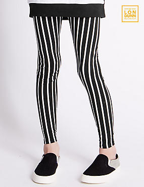 Cotton Rich Girls' Striped Leggings (5-14 Years)