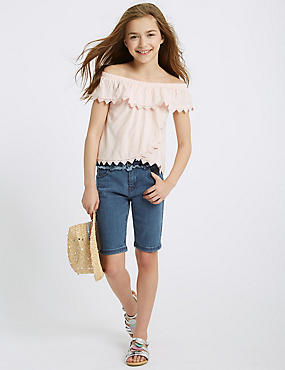 Cotton Shorts with Stretch (3-16 Years), DENIM, catlanding