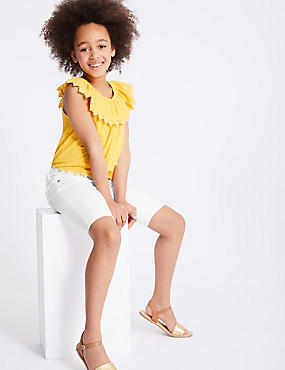 Cotton Shorts with Stretch (3-16 Years), WHITE, catlanding