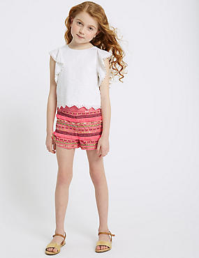 Pure Cotton Embellished Shorts (3-16 Years)