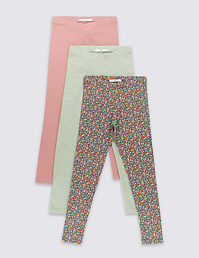 3 Pack Cotton Blend Leggings (5-14 Years)