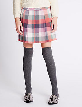 Pure Cotton Checked Skater Skirt (6-14 Years)