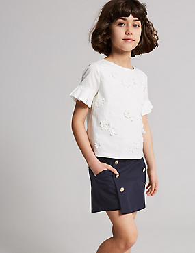 Cotton Shorts with Stretch (3-16 Years), NAVY, catlanding