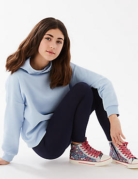 Cotton Rich Leggings with Stretch (3-16 Years), NAVY, catlanding
