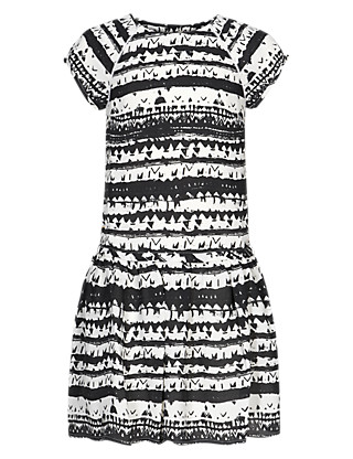 Drop Waisted Tribal Print Girls Dress (5-14 Years) Clothing