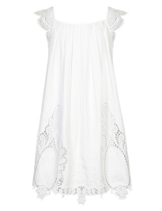 Pure Cotton Embroidered Cut-Out Girls Dress (5-14 Years) Clothing