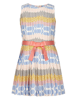 Spotted Girls Dress with Belt (5-14 Years) Clothing