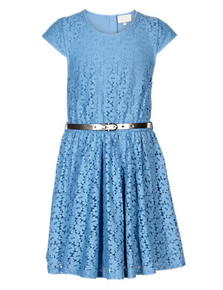 Cotton Rich Floral Lace Dress with Belt (5-14 Years) Clothing