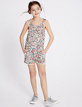 Pure Cotton Butterfly Print Playsuit (3-14 Years)