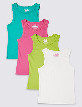 4 Pack Cotton Rich Ribbed Vests (3-14 Years)