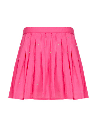 Pure Cotton Diamanté Embellished Pleated Crêpe Skirt Clothing