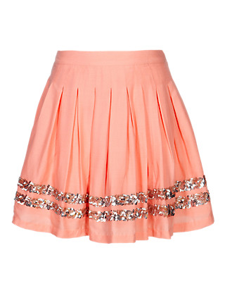 Pure Modal Sequin Embellished Pleated Skirt (5-14 Years) Clothing