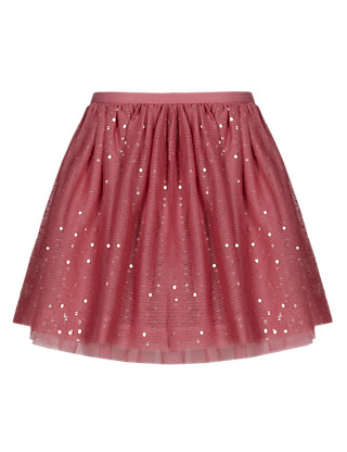 Sequin Embellished Mesh Tutu Skirt Clothing