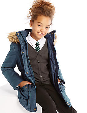 Pure Cotton Hooded Waxy Coat with Stormwear™ (3-14 Years)