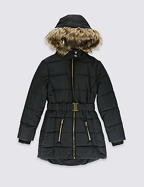 Padded Belted Coat and Faux Fur Hood with Stormwear™ (3-16 Years)