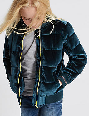 Zipped Through Velvet Bomber Jacket (3-14 Years)
