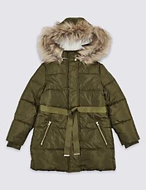 Faux Fur Zipped Through Coat with Stormwear™ (3-14 Years)