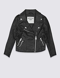 Faux Leather Zipped Through Biker Jacket with Stormwear™ (3-14 Years)