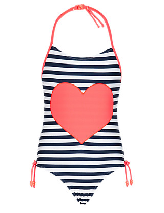Chlorine Resistant Lycra® Xtra Life™ Halterneck Heart Appliqué Striped Swimsuit (5-14 Years) Clothing