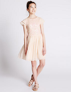 Sequin Embellished Pleated Dress (5-14 Years)