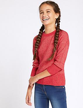 Knitted Jumper (3-16 Years), CERISE, catlanding