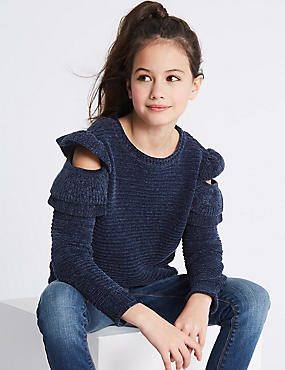 Chenille Frill Sleeve Jumper (3-16 Years)