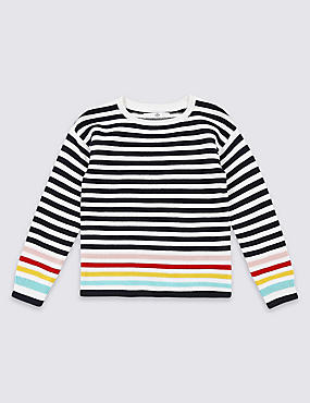 Pure Cotton Striped Jumper (3-16 Years), WHITE MIX, catlanding