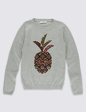 Pure Cotton Pineapple Jumper (3-14 Years)