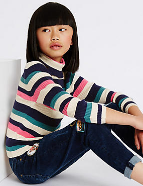 Pure Cotton Striped Jumper (3-14 Years)
