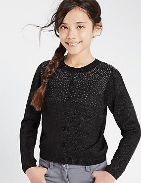 Long Sleeve Button Through Stud Cardigan (5-14 Years)