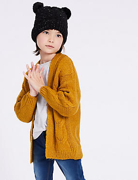 Cable Knit Cardigan (3-16 Years), TEAL, catlanding