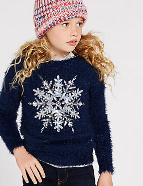 Snowflake Knitted Jumper (3-16 Years), DARK BLUE MIX, catlanding