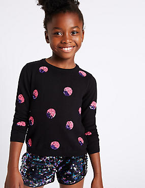 Spotted Sequin Long Sleeve Jumper (3-14 Years)
