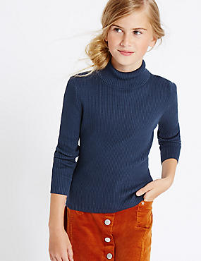 Pure Cotton Roll Neck Jumper (3-14 Years)