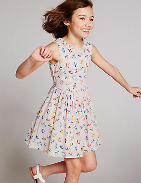 Pure Cotton Printed Dress with Belt (3-14 Years)