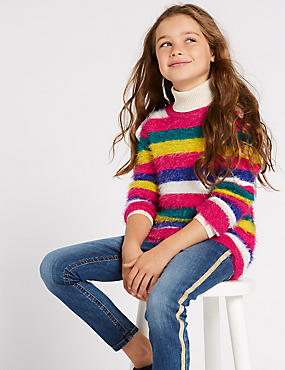 Knitted Strip Jumper (3-16 Years), MULTI, catlanding