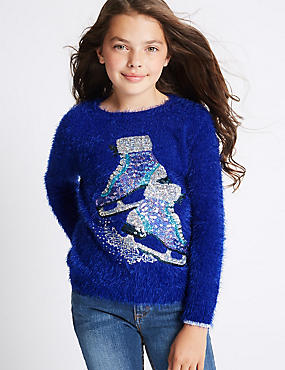 Sequin Crew Neck Jumper (3-14 Years)