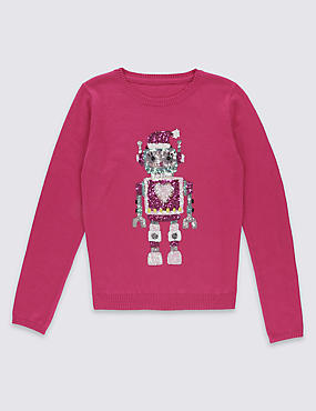 Long Sleeve Robot Jumper with Wool (5-14 Years)