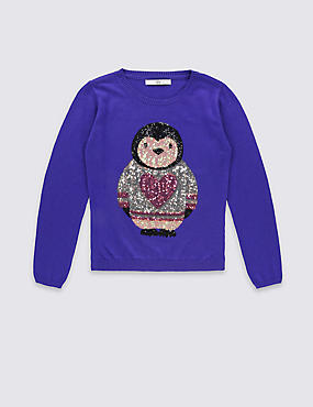 Long Sleeve Penguin Appliqué Jumper (5-14 Years)