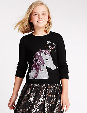 Long Sleeve Unicorn Sequin Jumper (5-14 Years)