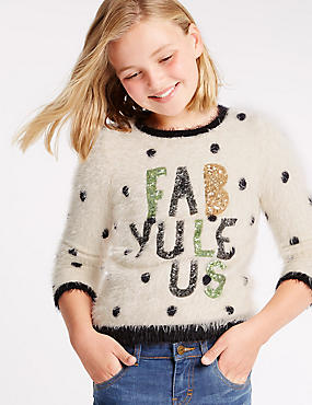 Long Sleeve Slogan Jumper (5-14 Years)