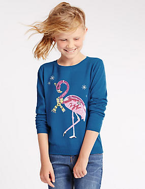 Flamingo Jumper with Wool (5-14 Years)
