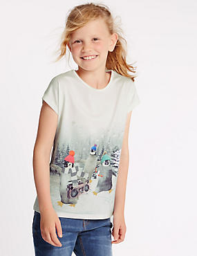Augmented Reality Short Sleeve Penguin Print Top (5-14 Years)