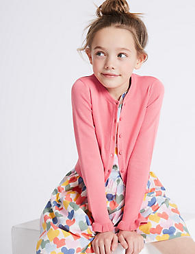 Pure Cotton Frill Sleeve Cardigan (3-16 Years)