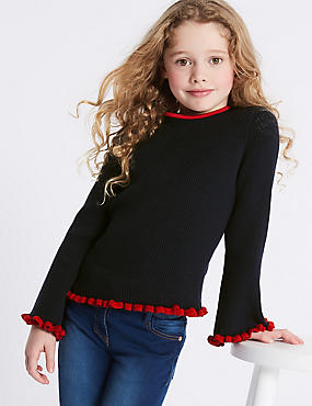 StayNEW™ Pure Cotton Jumper (3-16 Years), BLACKBERRY, catlanding