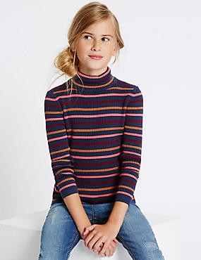 Pure Cotton Striped Roll Neck Jumper (3-14 Years)
