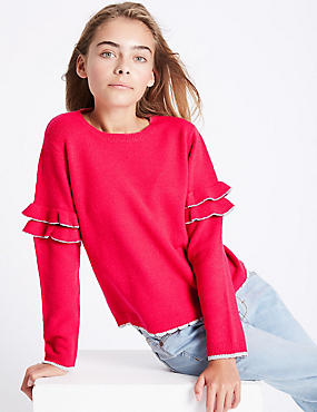 Crew Neck Frill Sleeve Jumper (3-14 Years)