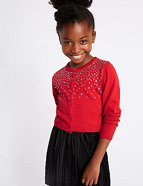 Pure Cotton Star Embellished Cardigan (3-14 Years)