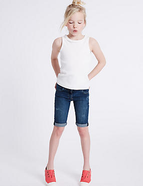 Cotton Denim Adjustable Waist Shorts with Stretch (3-14 Years)